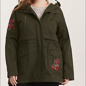 Green Embroidered Sherpa Jacket